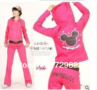 Free shipping New fashion women casual hooded+pants 2pcs suit cartoon Minnie mickey suit clothing set women spring sports suit