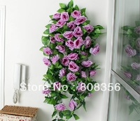 "Retail Low Price 2pcs 2.4m /94.5"" Romatic Silk Artificial Rose Camellia Flower Garlands Wedding Christmas Decorate Vine"