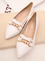 Fashion personality metal chain elegant pointed toe flat single shoes women's shoes