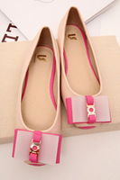 Color block decoration bow vintage flat head shallow mouth single shoes flat women's shoes