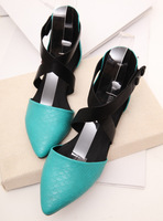 Modern ladies cute ladies elegant color block decoration sexy cross hasp flat sandals women's shoes