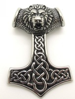 Cool Thor's Hammer 316L Stainless Steel Lifelike Lion King Necklace Pendant Chain Jewelry New Arrival Best Price