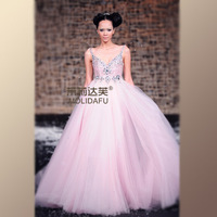 free shipping wholesale Startlingly sweet spaghetti strap handmade 2013 high waist yarn train wedding dress formal dress