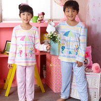 Home clothes child sleep set male female child long-sleeve at home service spring and autumn Pink autumn unisex blue