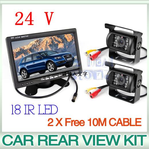 """24V Car Rear View Kit 2X 18 IR LED CCD Reversing Camera+7"""" LCD Monitor+2X 10M Cable(China (Mainland))"""