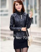 Free shipping!2013 new style fashion women leather jacket ,women Slim-fitting large size leather jacket coat M-XXXL
