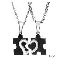 OPK JEWELRY  2013 New Arrival STAINLESS STEEL LOVE Heart Puzzle Necklace Fashion Black Couples Pendent , Free Shipping 265