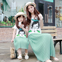 free shipping Family fashion summer  epineurium t-shirt mint green full dress clothes for mother and daughter