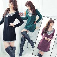 2013 autumn plus size sweet V-neck paillette loose medium-long one-piece dress