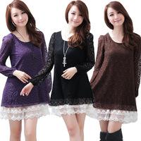 Autumn mm plus size lace one-piece dress o-neck long-sleeve loose cutout high waist skirt one-piece dress