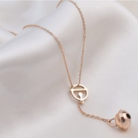 High Quality Rose Gold Plated Titanium Steel Doraemon Boll Chokers Necklace Free Shipping