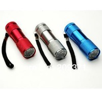 300pcs free shipping DHL 3 color Super Bright 9 LED Mini Flashlight Torch Waterproof