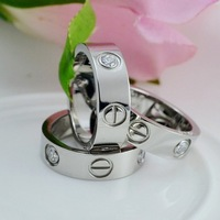 Free Shipping Love Series Silver Plated Titanium Steel Spike With Imitation Diamond Lovers Ring