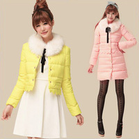 Free Shipping New 2013 Women'S Winter Jacket Sweet Candy Color Fur Collar Slim Down Coat Female LW83101
