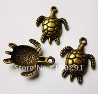 Free shipping!!!!! 200pcs 16*22mm Antique bronze color alloy tortoise pendant charms