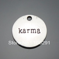 "Free ship!!! 100pcs Metal Alloy 20mm Round Lettering ""karma"" Jewelry Pendant Charm Jewelry Findings"