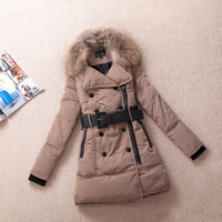 New 2013 Brand Winter Women'S Jacket White Duck Large Fur Collar Medium-Long Thickening Slim Down Coat Female LW83109
