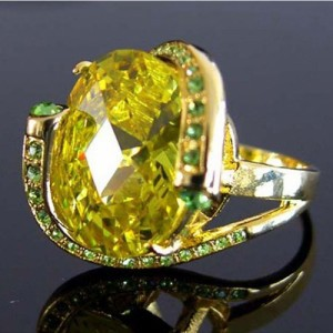 Sales And Free Shipping,High Fashion Gold Plated Fine Cubic Zirconia Citrine Ring(China (Mainland))
