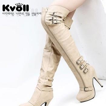 Kvoll Boots Fashion Leather Buckle Wristband Ultra High Heels Platform Boots