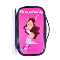 2013 best price  pin up girls  waterproof  pu leather storage paper doll mate makeup bag cosmetic  bag free shipping