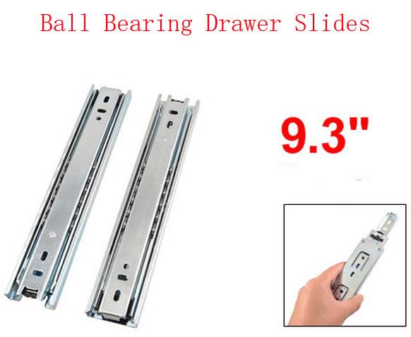"""9.3 """" Extensão bola cheia de rolamento telescópica Slides gaveta trilhos deslizantes 2pcs(China (Mainland))"""