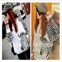 2013 autumn free shipping ladies women casual loose long batwing sleeve zebra stripe t shirt blouse M,L