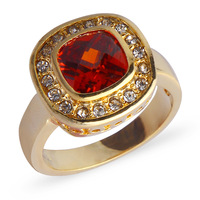 Brand Women Jewelry 10KT Yellow Gold Filled Red Garnet CZ Crystal Gem Stone Ring Christmas Gift
