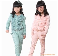 2013 spring clothing female child fungus laciness sports set outerwear long trousers