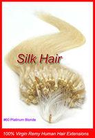 "Free Shipping 50g 18"" 20"" 22"" Keratin Micro Loop Ring Links Virgin Remy Human Hair Extensions #60 Platinum Blonde 100s/Pack"