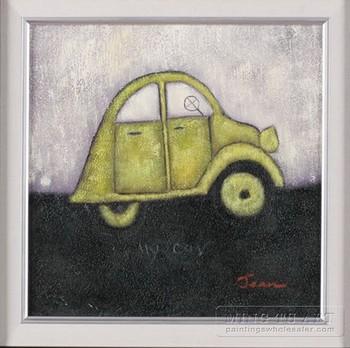 100% Handmade framed cartoon car oil painting for kids room 35*35cm