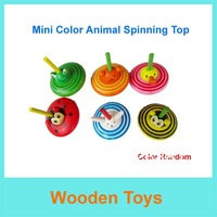 Free Shipping 6pcs Cute Mini Animal Shape Wooden Spinning top Toys/Wooden Toys/Funny Wooden Toys/Christmas and NEW Year Gift