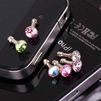 (100 pieces/lot) Diamond Dustproof Plug For iPhone4/4S/5 Samsung, 3.5mm Earphone Plug, Wholesale