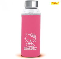 Free shipping 6 pcs/lot, Wholesale fashion glass cups Hello kitty travel cup Ladies' office cup Lovely glass water bottle, 280ml