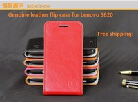 Genuine leather flip case for lenovo s820 leather case cover 6colors business style fashion case for s820 phone cover