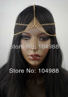2013 HOT European Unique Design Style Lady Loved 5 Strand Row Gold/Silver Head Chain Headpiece Forehead Hair Band Grecian Boho