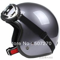 "E.116 3/4 Taiwan "" SYC "" NEW Scooter Ebike Motocross Half Face Motorcycle Full metal Grey Helmet & UV Goggles & Visor Adult"