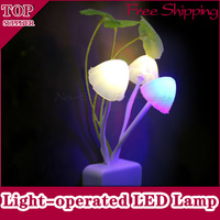 Brand New Avatar Mushroom Intelligent Light-operated LED Night Light Energy-saving Colorful Baby Bedroom Wall Lamp Free Shipping