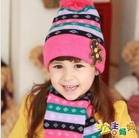 Free shipping fashion child hats caps knitting wool winter Hat+Scarf set retail LI13083110