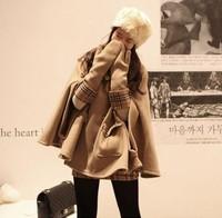 2013 Fashion Ladies Woolen Cloak Outerwear Double Breasted  Wool Coat Poncho Women's Solid Khaki Topcoat Loose Bat Overcoat