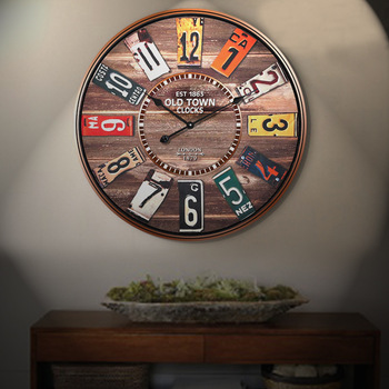 Free shipping 34 and 60cm vintage European style silent interior wooden wall watch clock with number home wall decoration