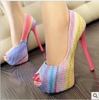 free shipping,2014 Korea open toe candy colorful rainbow patchwork high heels platform women shoes pumps,lady heels wedding