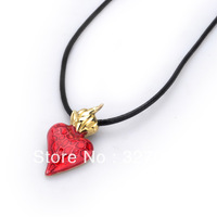 free shipping hot selling hot necklace 2013 drachenfels silver style 2013 new Red heart black cord necklace-gold plating DCFN18G