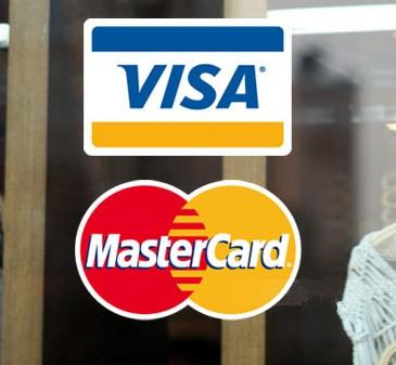 Free Shipping bank card logo Stickers, 5pcs VISA +5 pcs MASTERCARD credit card logo store glass door window sticker(China (Mainland))