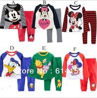 2013 new 100% cotton Cartoon kids pajamas children pyjamas baby boys and girls 2 pcs clothing set (T shirt+ pants)4 set/lot