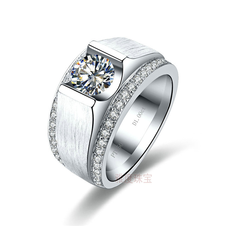 Luxury Diamond Supply 925 Silver 1 Carat NSCD Simulated Diamond Engagement Rings For Men Mens