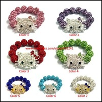 New Hello Kitty Baby Kids Shamballa Bracelet, Elastic Stretch Size, Many Colors For Choice, Girls Boys Children Jewelry x10pcs