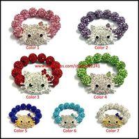 New Hello Kitty Baby Kids Shamballa Bracelet, Elastic Stretch Size, Many Colors For Choice, Girls Boys Children Jewelry x10pcs