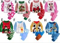 free shipping newest baby & kids cartoon pajamas sets children sleepwear boys girls long-sleeved t-shirt + trousers twinset set