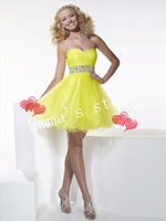 Free Shipping Dresses 2014 New Ball Cheap A-Line Sweetheart Beaded Ruffles Yellow Tulle Mini Party Cocktail Homecoming Dress