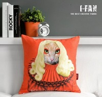 Wholesale!Free shipping 1 PCS  Home Orange Pillow cover LADY GA GA Plush cushion cover 45CMx45CM
